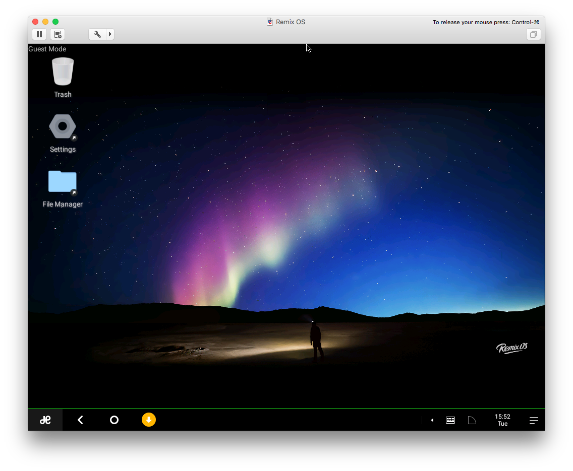 Remix OS running in VMWare Fusion