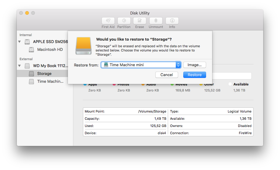 Restore the Time Machine backup on a new drive